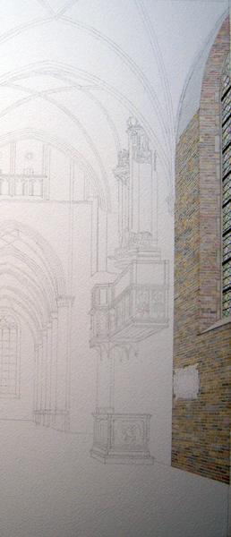 De stenen muur is af, nu nog de rest van het aquarel 'Noordelijke kooromgang met het van Covelensorgel'. Henk voelde zich de afgelopen tijd voornamelijk 'bouwvakker'. (foto Henk Terwal)