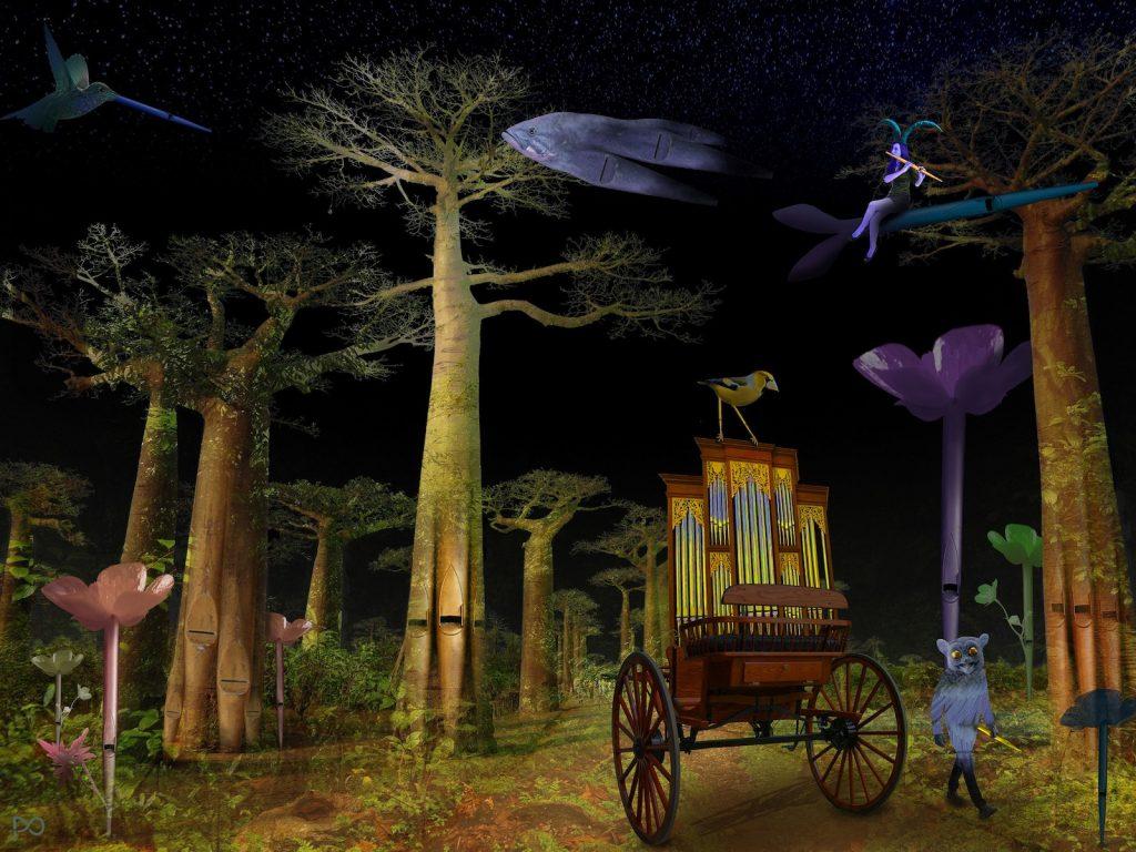 Illustratie van Peter Oosterhout, winnaar illustratiewedstrijd Nationaal Orgelmuseum
