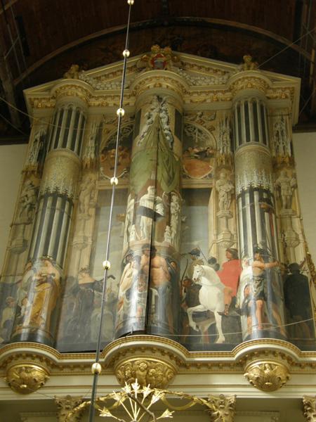 De Triomf van Saul en David, geschilderd door Ceasar van Everdingen op de buitenzijde van de orgelluiken (foto uit 2011)