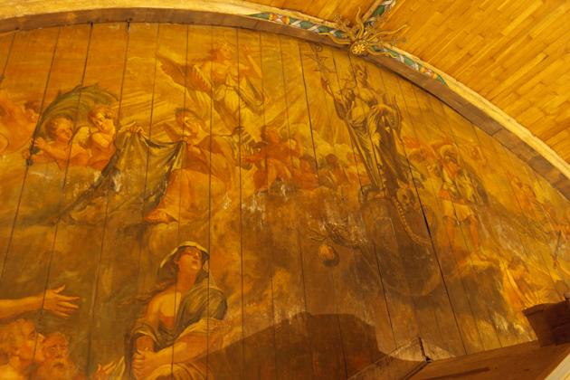 De allegorische voorstelling boven het orgel van Romeyn de Hooghe