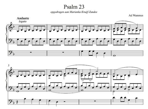 ad wammes psalm 23 voor orgel