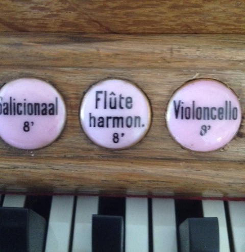 Adema-orgel Uitgeest registerschildje Violoncello