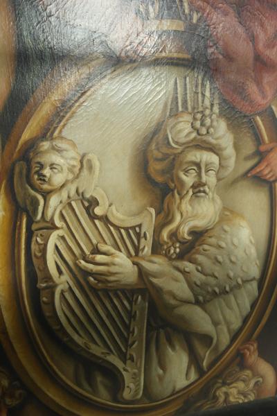 Koning David, fragment van de beschilderde luiken van het Van Hagerbeer/Schnitgerorgel