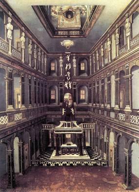 Interieur van de voormalige hofkapel van het hertogelijke kasteel van Weimar (schilderij van Christian Richter, omstreeks 1660)