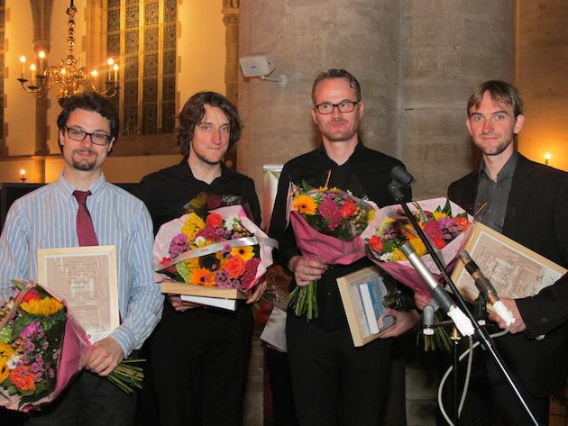 De vier finalisten van het 50e Internationaal OrgelimprovisatieConcours Haarlem (v.l.n.r.): David Cassan, Lukas Grimm, Morten Ladehoff en Tobias Wittmann | © fotografie Pieter Baak