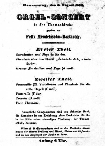 Programma van Mendelssohns Bachconcert Donderdag 6 augustus 1840 – Thomaskirche, Leipzig