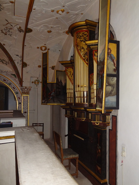 Het orgel in de kapel van Schloss Wilhelmsburg in Schmalkalden