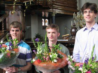 Winnaars Diederik Blankesteijn (l), Martien de Vos (m) en Laurens de Man (r)