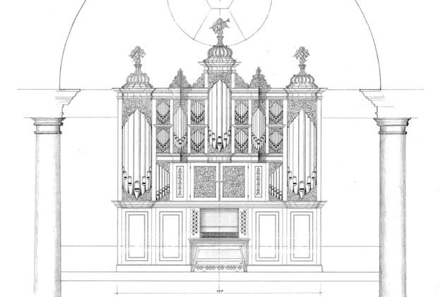 tekening reconstructie schnitger orgel lutherse kerk groningen